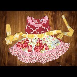 So Cute! Cheeky Plum Floral Tie Dress 6/12 Months